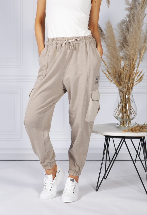 Pamela Scott Cargo Pocket Soft Jersey Jogger in Beige
