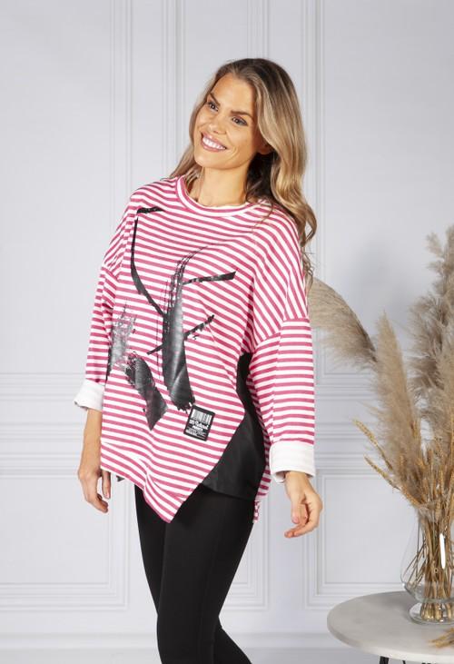 Pamela Scott Pink Graffiti Stripe Jersey Jumper