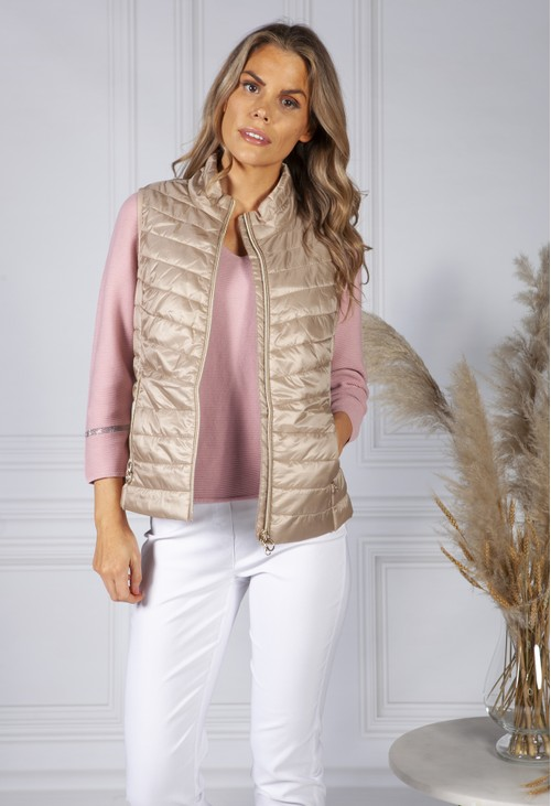 Betty Barclay Quilted Gilet In Latte