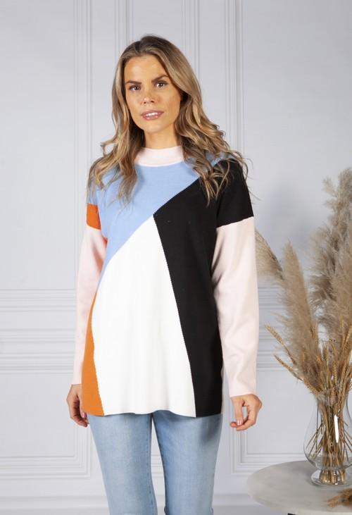 Pamela Scott Colour Block Knit Jumper