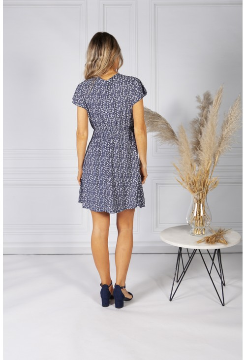 Pamela Scott Cute Faux Wrap Dress in Navy Mix