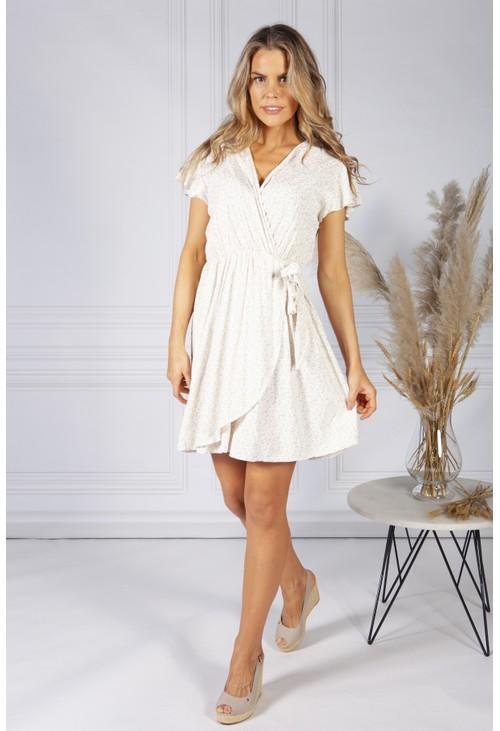 Pamela Scott Cute Faux Wrap Dress in Cream Mix