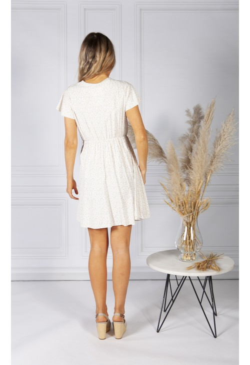 Pamela Scott Cute Faux Wrap Dress in Cream Mix