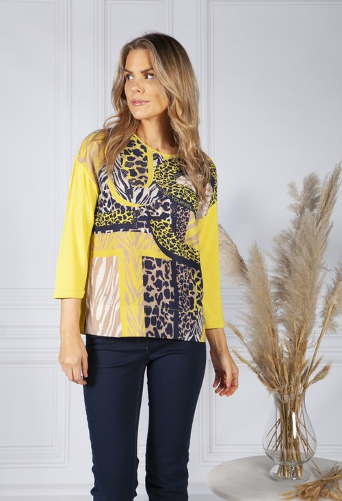 Betty Barclay Yellow Top with Abstract Print Front