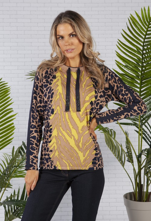Betty Barclay Animal Print Jumper with Tie Neckline in Camel