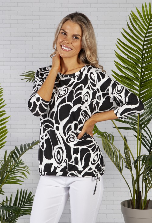 ERFO Black and White Abstract Rose Print Top