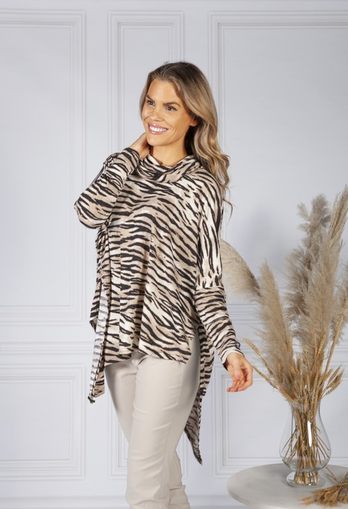 Pamela Scott Animal Print Roll Neck Tunic