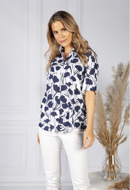 ERFO Navy Floral Print Shirt