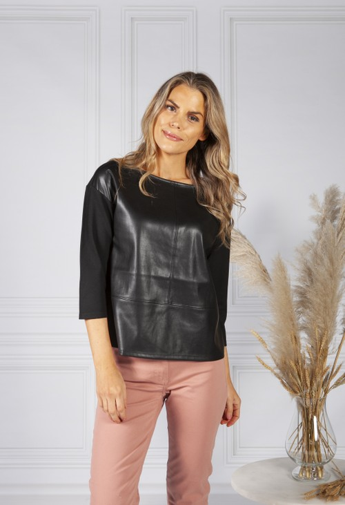 Betty Barclay Black Leather Look Top