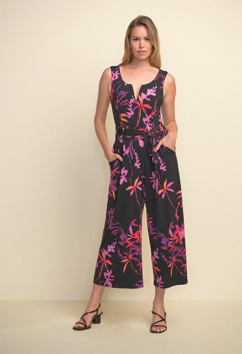 Joseph Ribkoff Tropical Print Sleeveless Jumpsuit