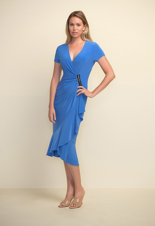Joseph Ribkoff Sea Blue Zip Detail Dress