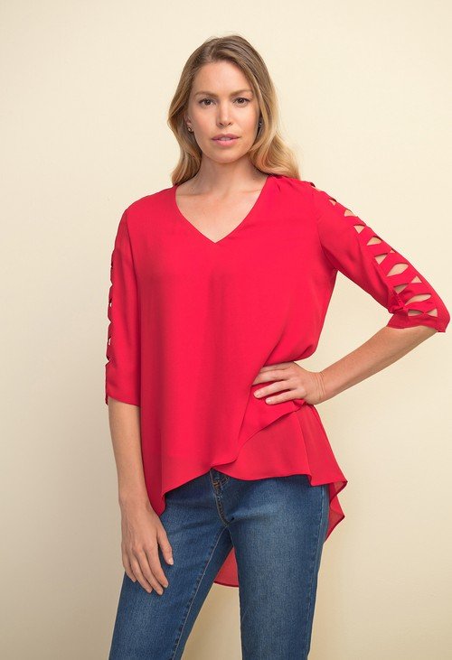 Joseph Ribkoff Lipstick Red Geometric Style Cut Out Top
