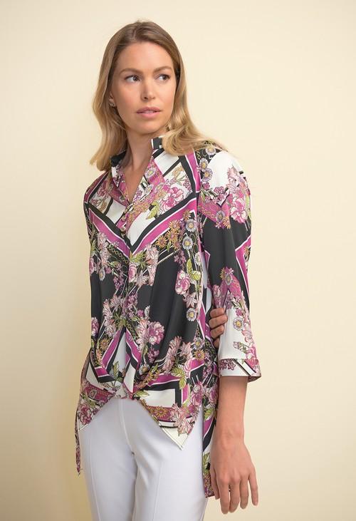 Joseph Ribkoff Floral & Chain Print Blouse