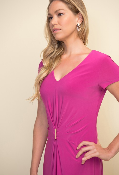 Joseph Ribkoff Pink Gathered Front Dress