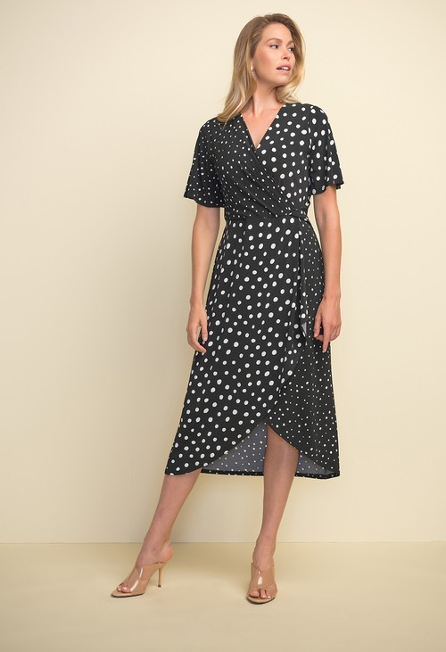 Joseph Ribkoff Polka Dot Short Sleeve Dress