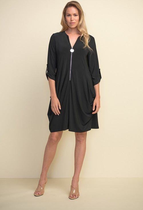 Joseph Ribkoff Black Zip Front Dress