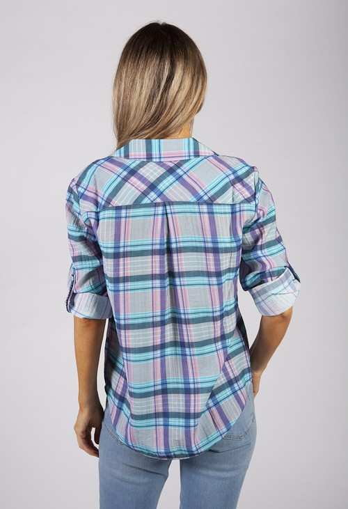 Twist Aqua Checked Shirt