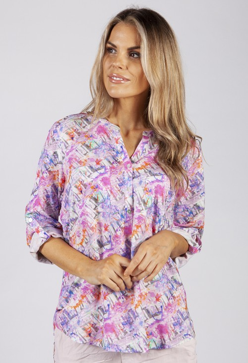 Twist Pink Abstract Print Shirt