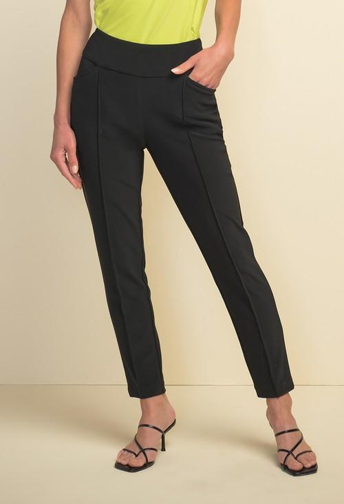 Joseph Ribkoff Black Front Seam Cropped Trousers