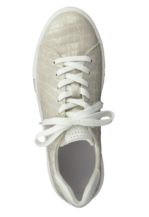 Marco Tozzi Nude Patent Croc Print Laced Trainer