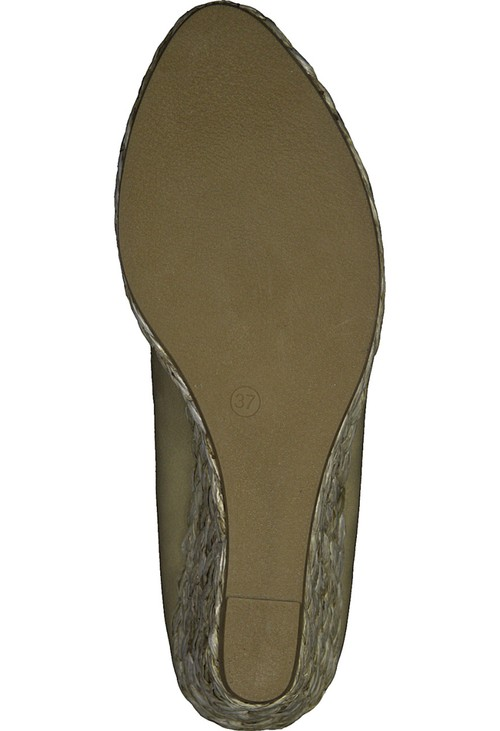 Marco Tozzi Nude Patent Wedge Slip-on Espadrille