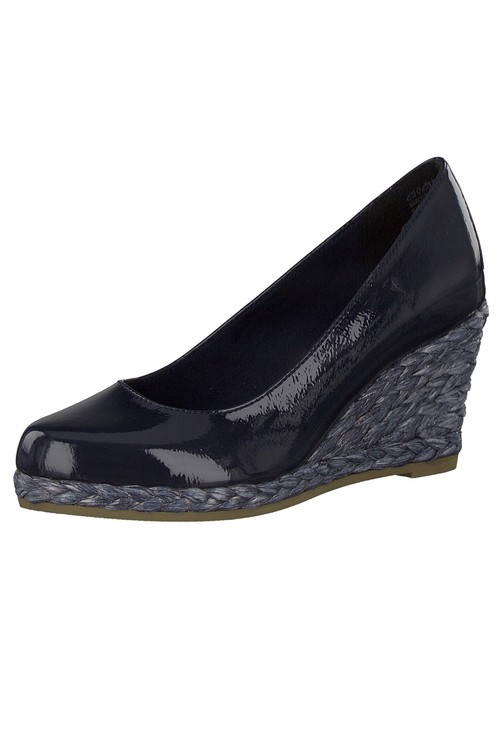 Marco Tozzi Navy Patent Wedge Slip-on Espadrille