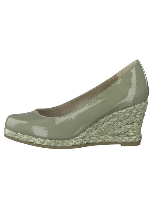 Marco Tozzi Moss Green Patent Wedge Slip-on Espadrille