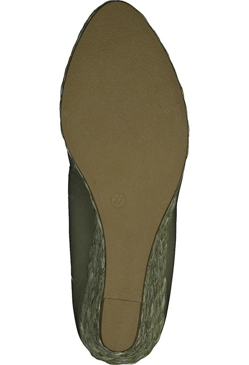 Marco Tozzi Moss Green Patent Wedge Slip-on Espadrille