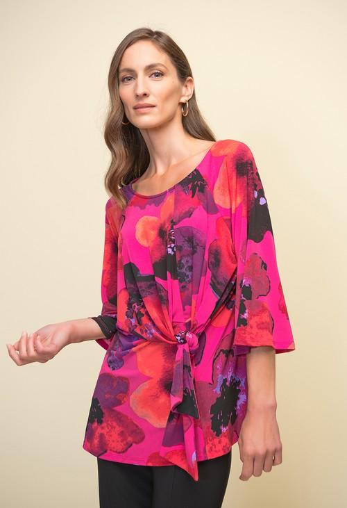 Joseph Ribkoff Floral Print Waist Tie Top