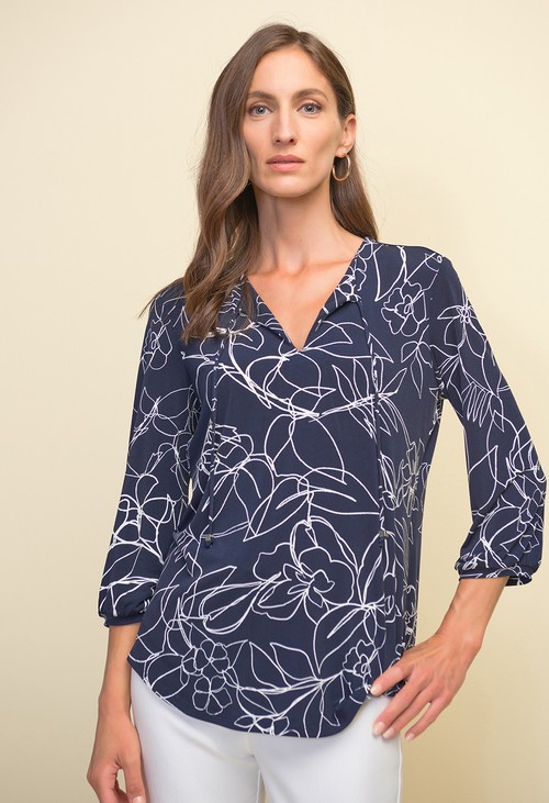 Joseph Ribkoff Midnight Blue Floral Print Top