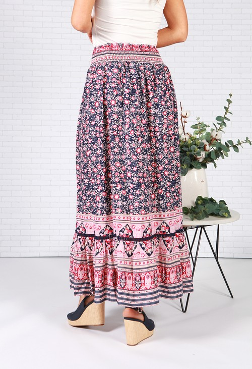 Pamela Scott Navy Mix Floral Print Skirt