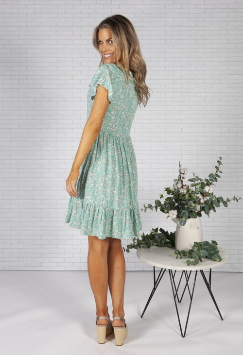 Pamela Scott Sage Floral Print Dress