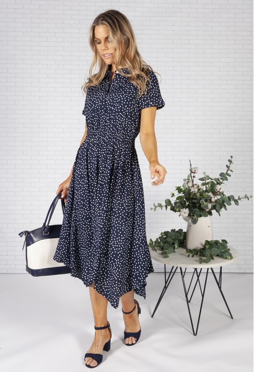 Pamela Scott Navy Polka Dot Shirt Dress