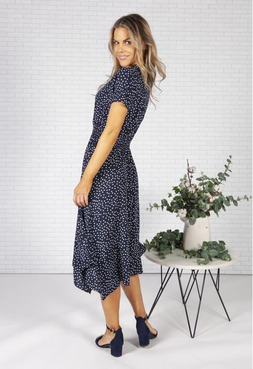 Pamela Scott *Pre Order* Navy Polka Dot Shirt Dress