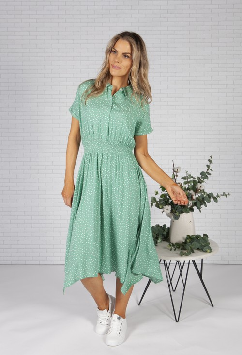 Pamela Scott Mint Polka Dot Shirt Dress