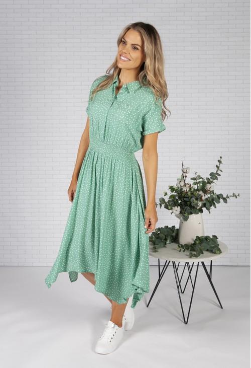 Pamela Scott *Pre Order* Mint Polka Dot Shirt Dress