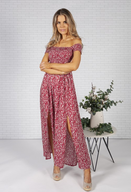 Pamela Scott Ruby Red Floral Print Dress