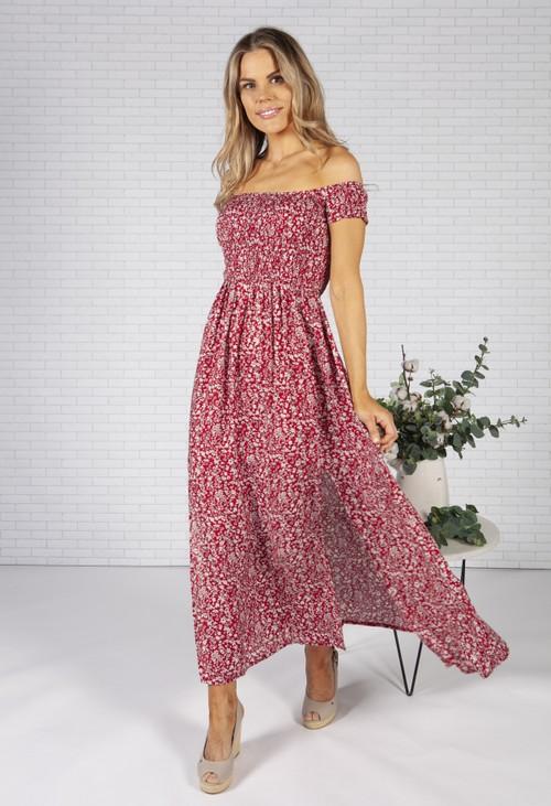 Pamela Scott Ruby Red Floral Print Dress