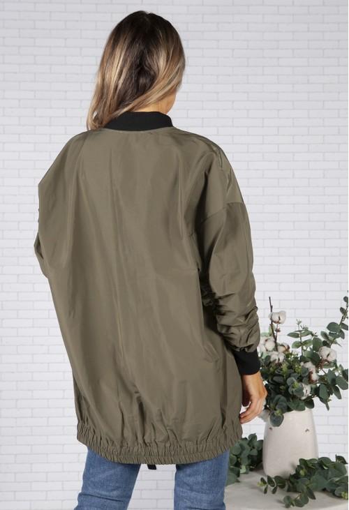 Pamela Scott Khaki Ruched Sleeve Jacket