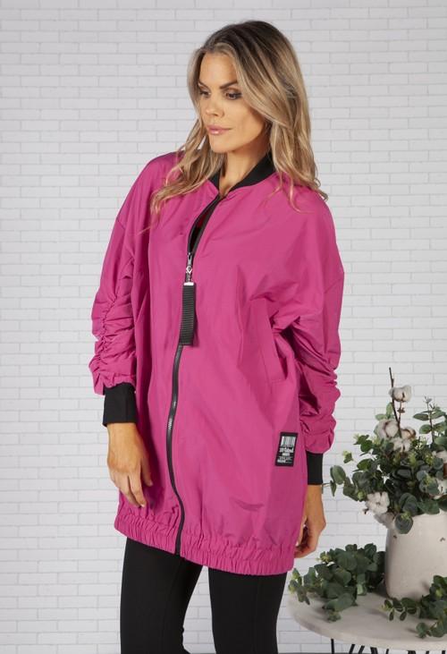 Pamela Scott Bright Pink Ruched Sleeve Jacket