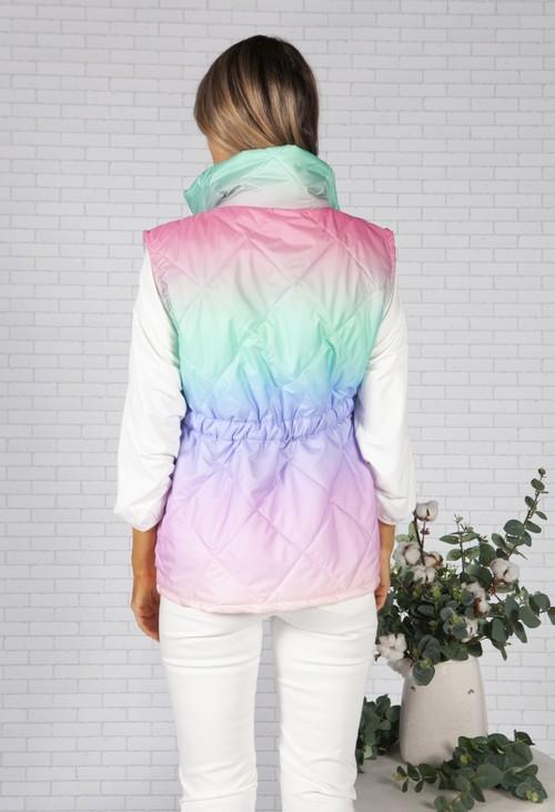 Zapara Pink Faded Rainbow Gilet