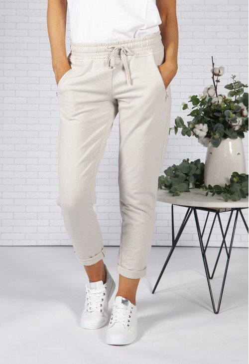 Pamela Scott Stone Joggers with Side Zip Pockets