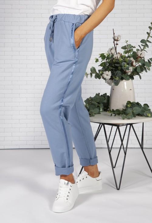 Pamela Scott Cornflower Blue Joggers with Satin Detail Side Stripe