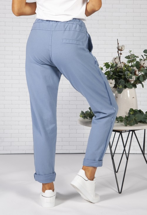 Pamela Scott Cornflower Blue Joggers with Satin Detail Side Stripe