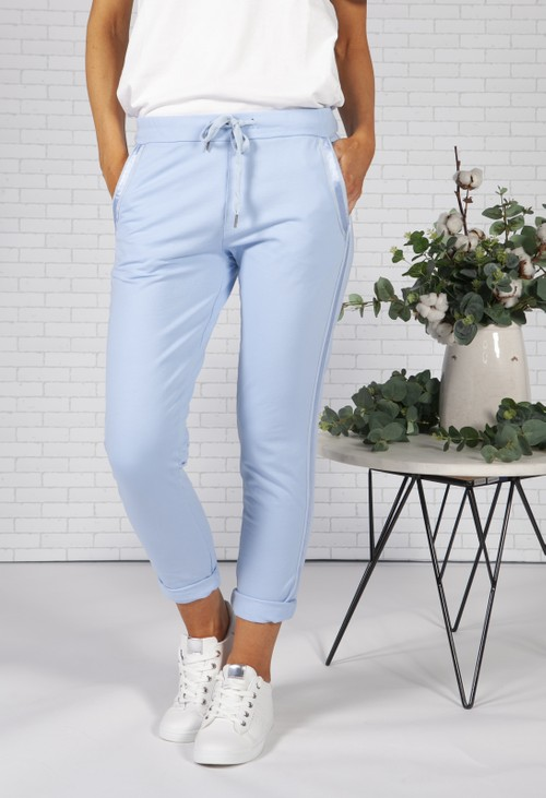 Pamela Scott Sky Blue Joggers with Satin Detail Side Stripe