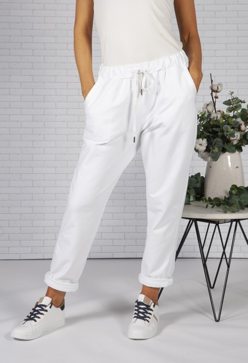 Pamela Scott White Joggers with Satin Detail Side Stripe