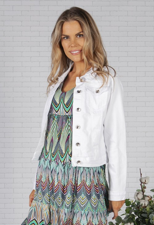 Pamela Scott White Denim Jacket