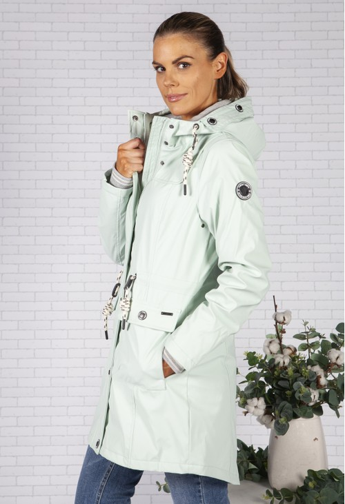 Pamela Scott Turquoise Marine Rain Jacket with Soft Grey Lining