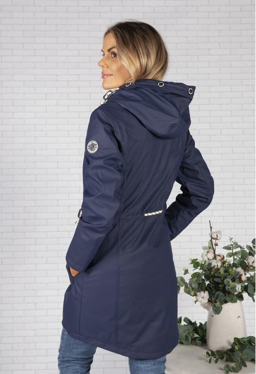 Pamela Scott Navy Marine Rain Jacket with Soft Grey Lining