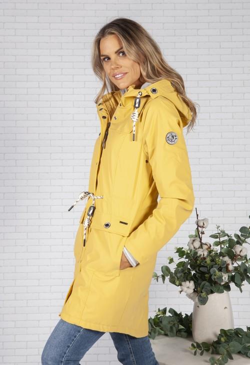 Pamela Scott Summer Yellow Marine Rain Jacket with Soft Grey Lining